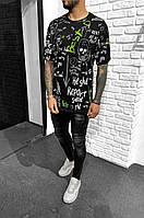 Футболка мужская модная хайп черная с принтом молодежная весна 2021 S M L XL XXL XXXL M