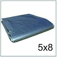 Тент 5*8 м., готовые размеры в ассортименте, плотный 120 г/м2 серебряный с УФ-защитой