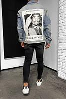 Джинсовка мужская Турция голубого цвета весна лето осень плотная куртка джинсовая