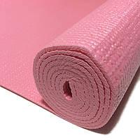 Коврик для йоги 1730х610х4мм нескользящий прорезиненный PVC Розовый