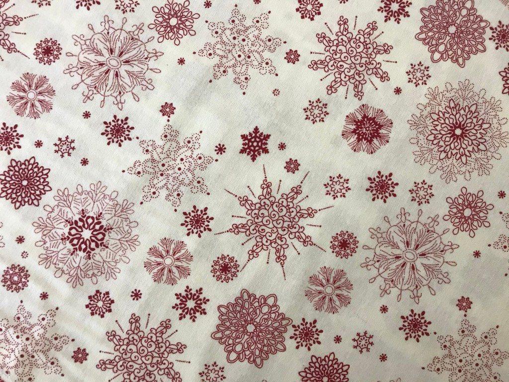 Постельное белье из фланели Снежинка красная на белом