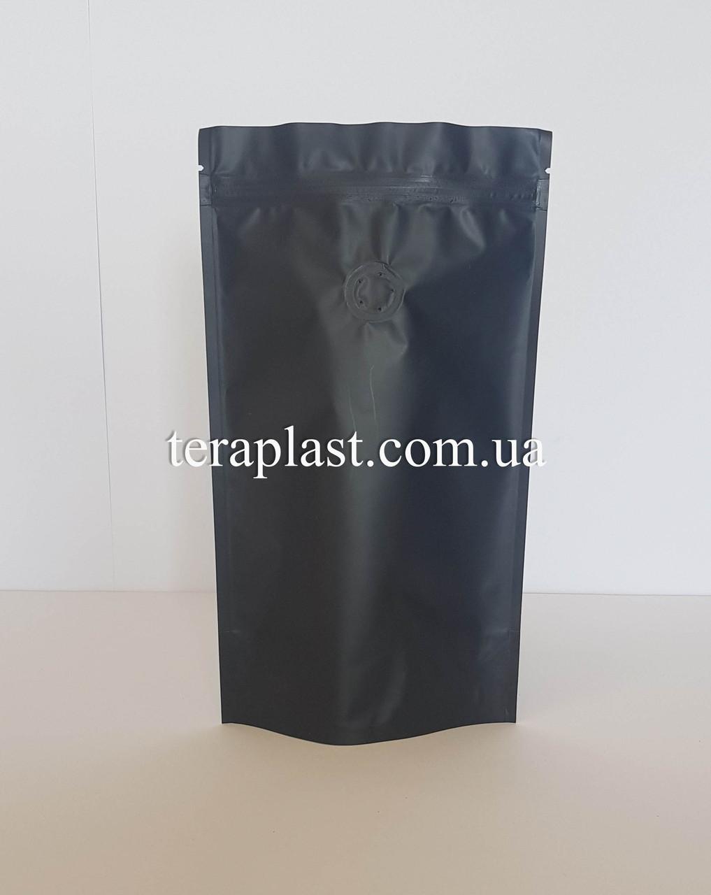 Дой-Пак 250г чорний 140х240 з зіп замком з клапаном для кави