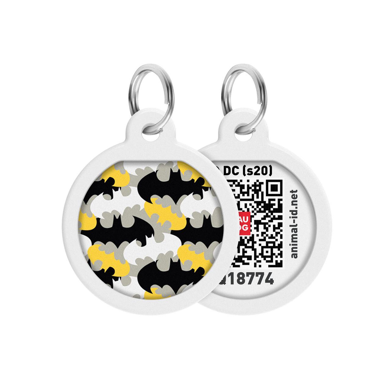 """Адресник WAUDOG Smart ID с QR паспортом, премиум, рисунок """"Бэтмен узор"""" (0625-1020)"""