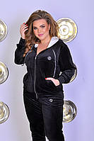 Велюровый спортивный костюм Большого размера, Женский велюровый спортивный костюм Большой размер Черный, фото 2