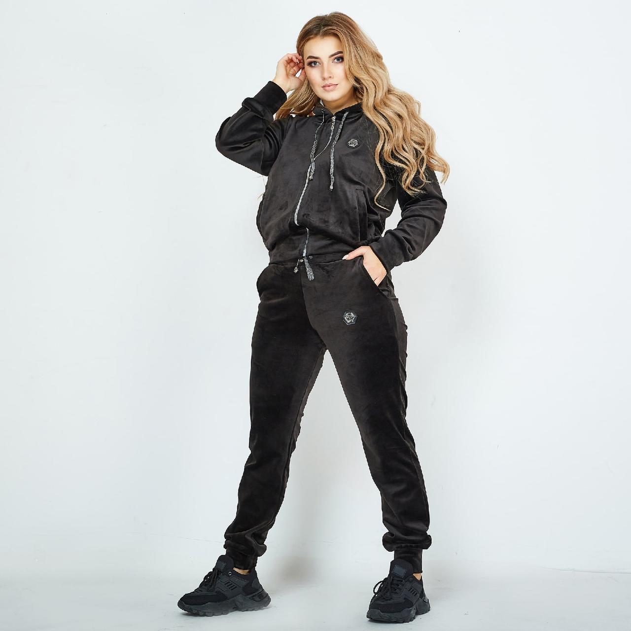 Шикарный велюровый спортивный костюм Череп стразы, Женский велюровый спортивный костюм Большой размер Черный