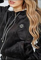 Шикарный велюровый спортивный костюм Череп стразы, Женский велюровый спортивный костюм Большой размер Черный, фото 3