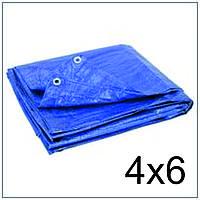 Тент Тарпаулин 4*6 синий 75 г/м2, размер 4х6 м.