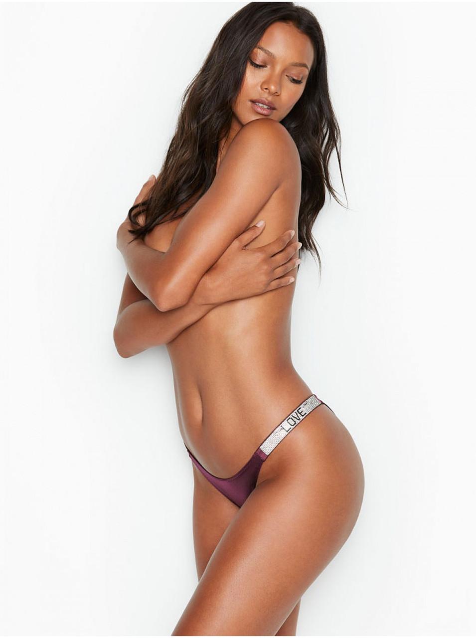 💋 Трусики зі стразами Victoria's Secret Love Shine Strap Brazilian Panty, Виноградні