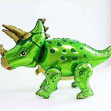 Фольгированный шар 3D Динозавр с рогом Зелёный.Размер 91*55см.В индивидуальной упаковке 1920