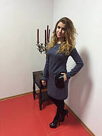 Платье женское трикотажное с кожаными карманами, фото 1