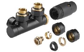 Термостатичний комплект INVENA CZ-88-015 типу Duoplex для нижнього підключення чорний