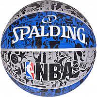 Мяч баскетбольный Spalding NBA Graffiti Outdoor Grey/Blue Size 7