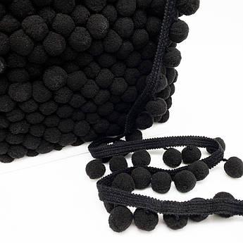 Тесьма с помпонами 20 мм черные