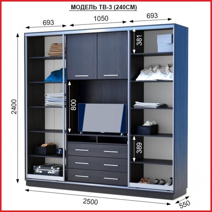Шкаф купе ТВ-3 / ширина 2500 (Анабель)