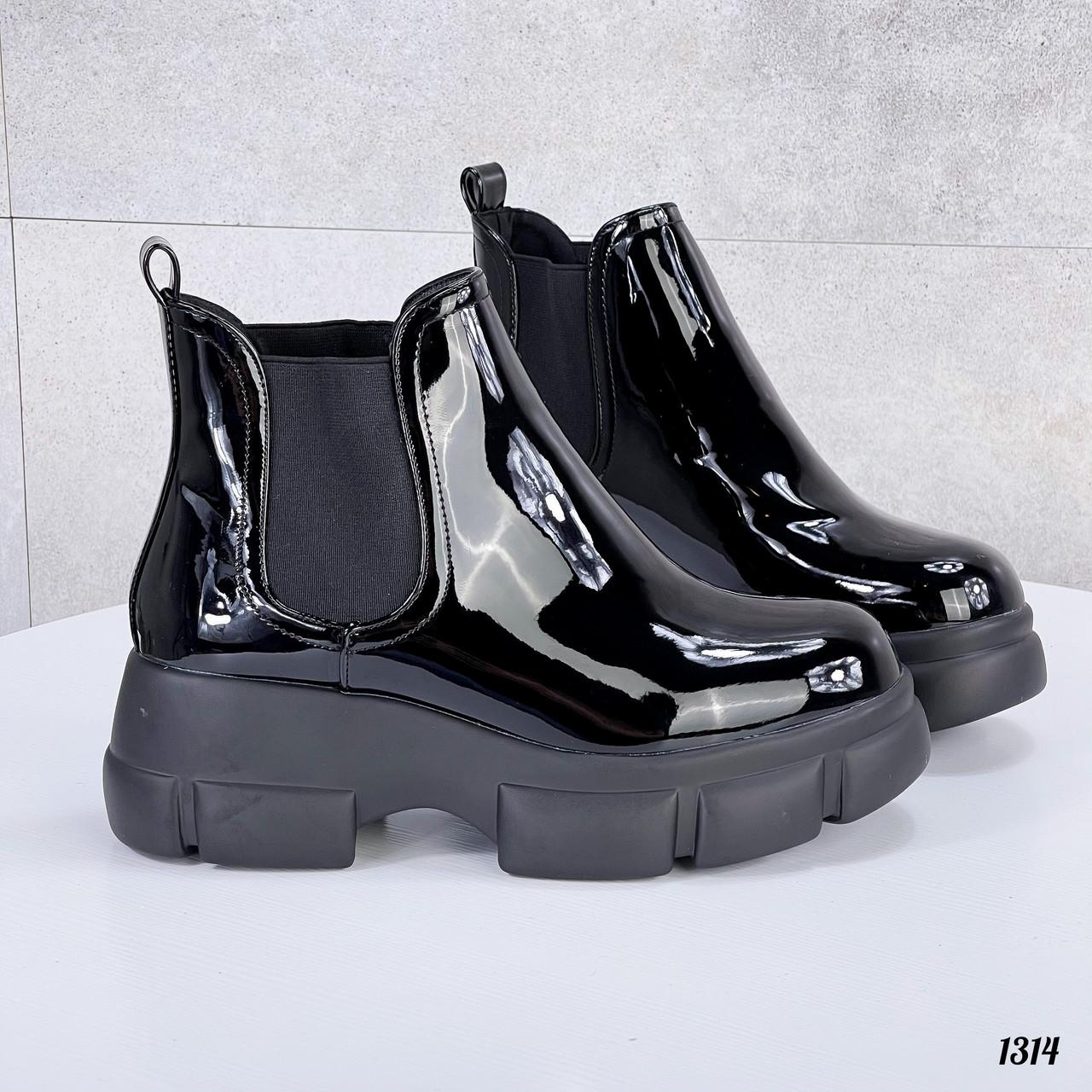 39 р. Ботинки женские деми черные лаковые на толстой подошве платформе демисезонные из искусственного лака