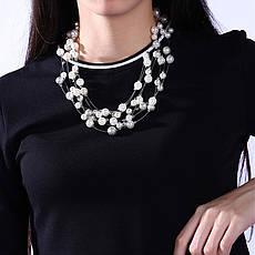 """Намисто намисто жіночі з білим перлами """"Ніжність"""" нитка покритий платиною, фото 3"""