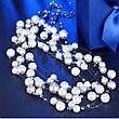 """Ожерелье бусы женские с белым жемчугом """"Нежность"""" нить покрыта платиной, фото 3"""