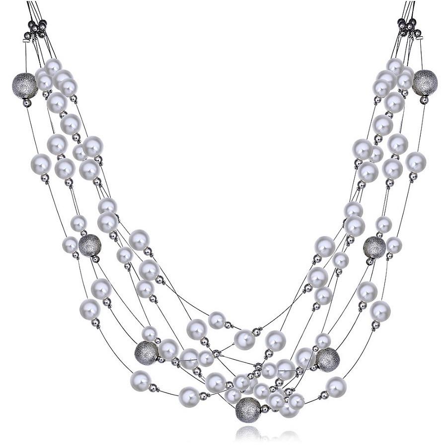 """Намисто намисто жіночі з білим перлами """"Ніжність"""" нитка покритий платиною"""