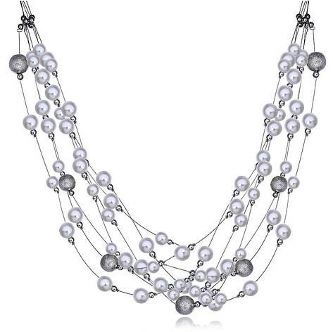 """Ожерелье бусы женские с белым жемчугом """"Нежность"""" нить покрыта платиной, фото 2"""