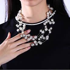 """Намисто намисто жіночі з білим перлами """"Ніжність"""" нитка покритий платиною, фото 2"""