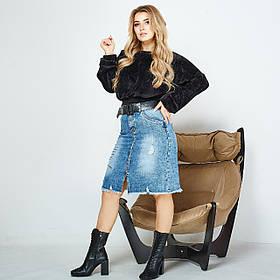 Юбка женская джинсовая Больших размеров, Джинсовая юбка батал потертая
