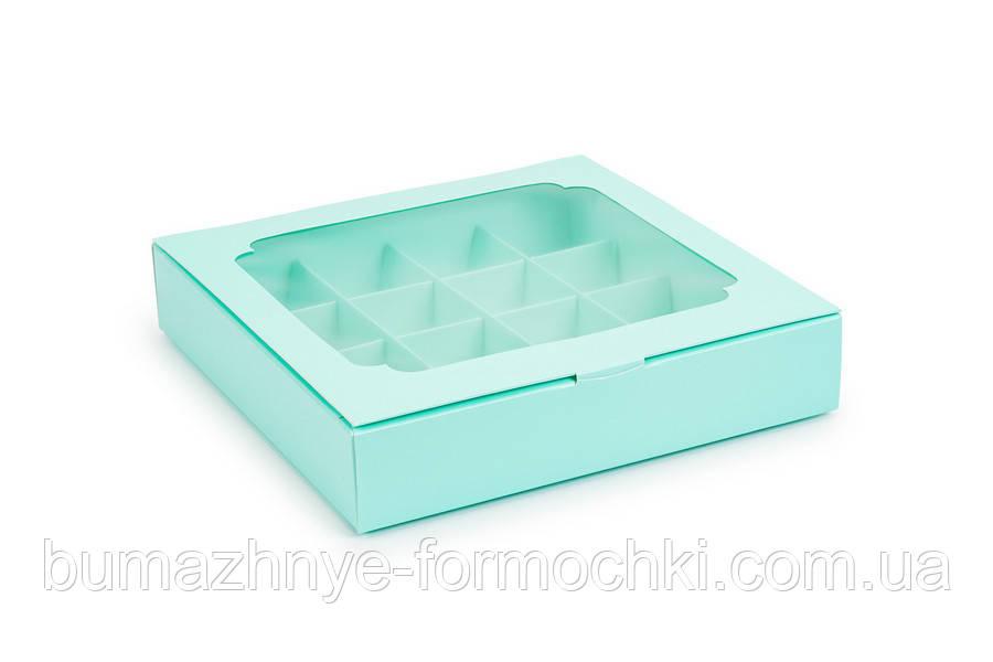 Коробка на 16 цукерок, з віконцем кольору тіффані, 185х185х35