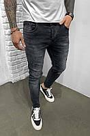 Стильные мужские джинсы зауженные  Турция, черные, фото 1