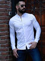 Чоловіча біла сорочка приталені, фото 1
