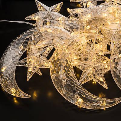 Светодиодная гирлянда-шторы звезды и луна Christmas Light LED Теплый свет (202101)