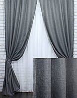 "Комплект (2шт.1,5х2,7м) светонепроницаемых штор, коллекция ""Лён Мешковина"".Цвет серый. Код 288ш  30-059"