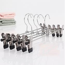 Набор тремпелей вешалок брючных с прищепками металлических, 30 см, хром, прочные, 10 шт