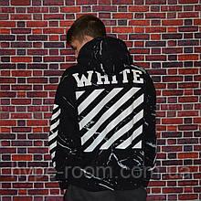 Мужская кофта с капюшоном Off White худи с ярким дизайном черная