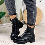 Женские ботинки ДЕМИ черные спереди молния натуральная кожа весна/ осень, фото 2