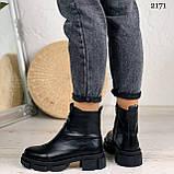 Женские ботинки ДЕМИ черные спереди молния натуральная кожа весна/ осень, фото 4