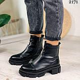 Женские ботинки ДЕМИ черные спереди молния натуральная кожа весна/ осень, фото 3