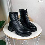 Женские ботинки ДЕМИ черные спереди молния натуральная кожа весна/ осень, фото 5