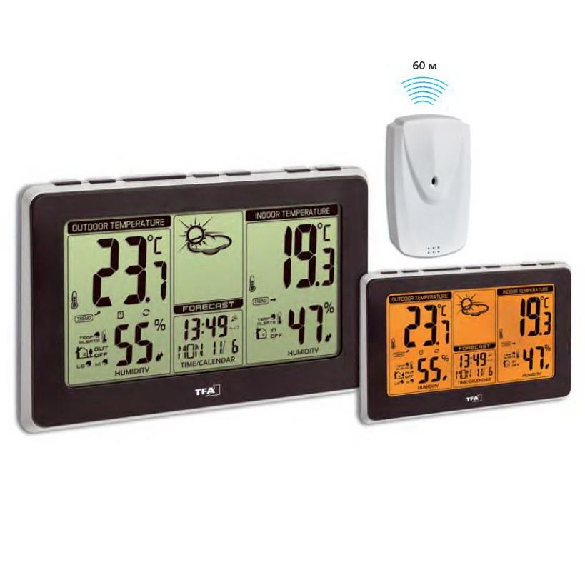 Цифровая метеостанция для дома с беспроводным датчиком TFA Mondo Black