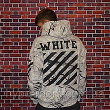 Мужская кофта с капюшоном Off White худи с ярким дизайном белая