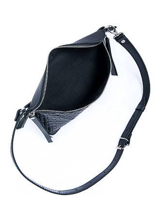 Поясна шкіряна сумка чорна 6928-11, фото 2