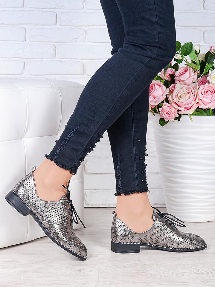 Туфли кожаные сатин (лето) Эвелин 7005-28