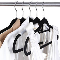 Плечики вешалки флокированные (бархатные, велюровые) для одежды черные, 42 см, 5 штук