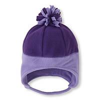 Шапка флисовая для девочки детская шапка зимняя демисезон сиреневая 6-12мес