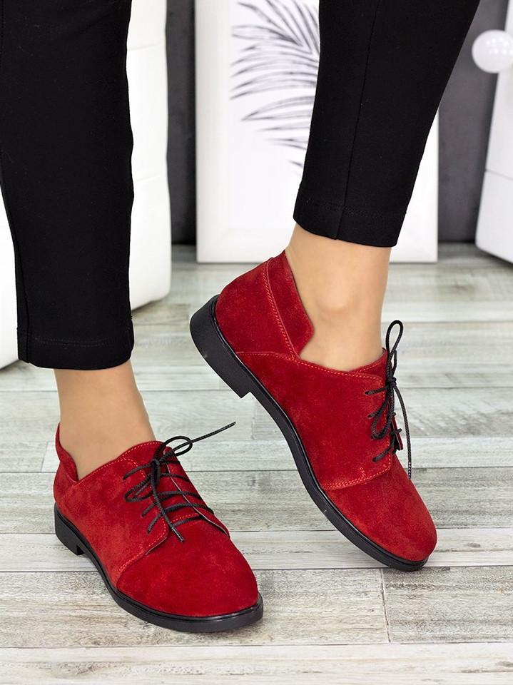 Туфли красные замшевые 7258-28
