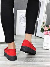 Туфли лоферы красная замша 7272-28, фото 3