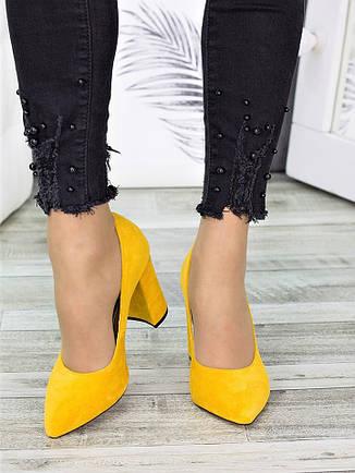 Туфли на каблуке горчица замша 7278-28, фото 2