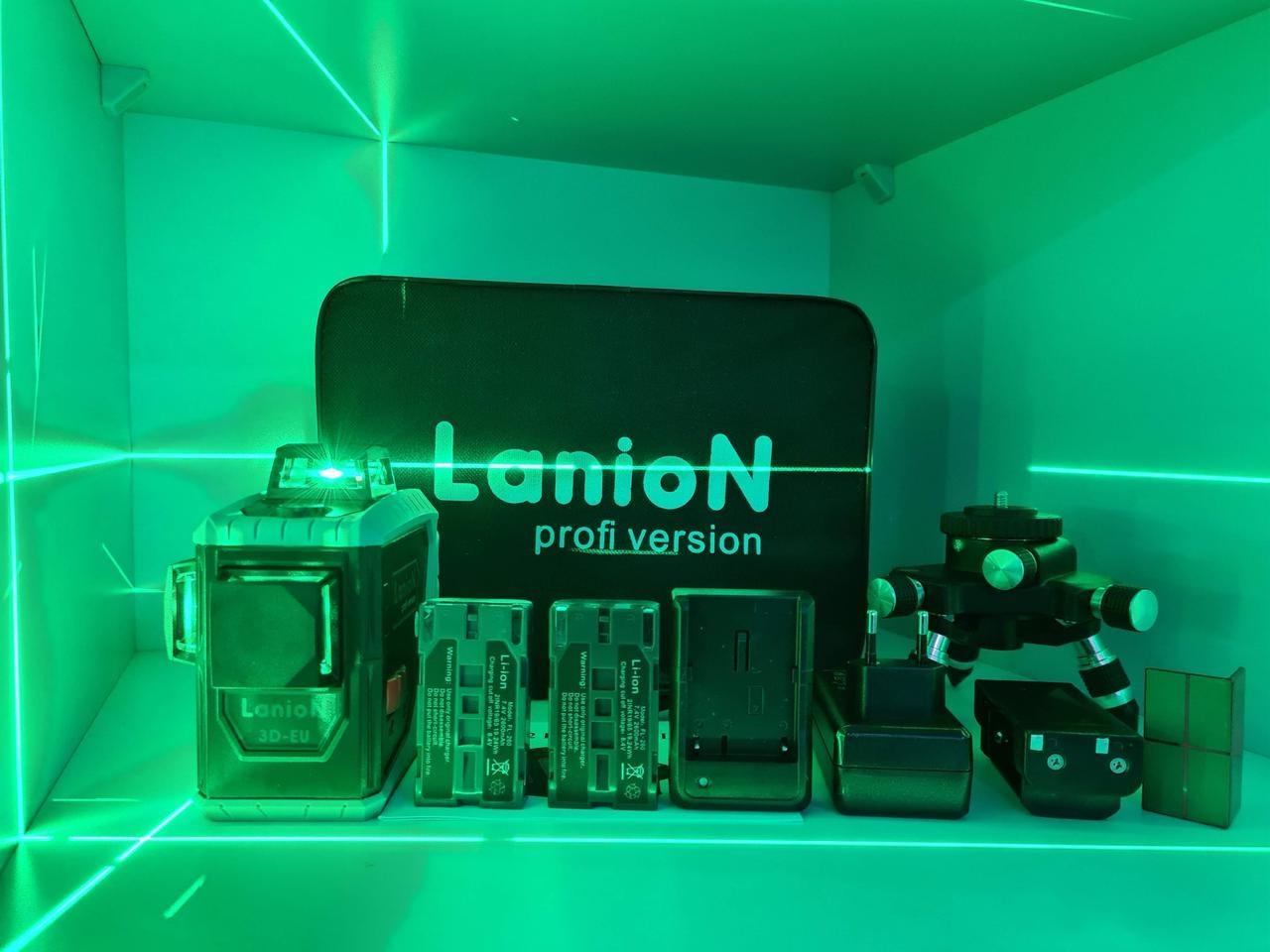 ✷БИРЮЗОВЫЙ ЛУЧ✷ Лазерный уровень LanioN 3D-EU (Fukuda) + 2 АККУМУЛЯТОРА В КОМПЛЕКТЕ