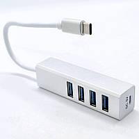 Концентратор Юсб хаб USB на Type-C для MacBook Pro Aluminum Hub переходник Apple на 4 порта 20W