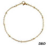Женский модный тонкий красивый браслет на руку золотистый с золотыми шариками