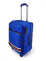 Дорожный маленький чемодан тканевый Ousen 2 на 4х колесах синий