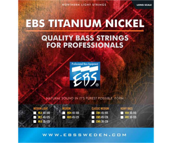 Струни для бас-гітари EBS TN-HB 4-strings (50-110) Titanium Nickel